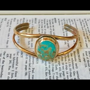 Navajo Turquoise and Brass Cuff Bracelet
